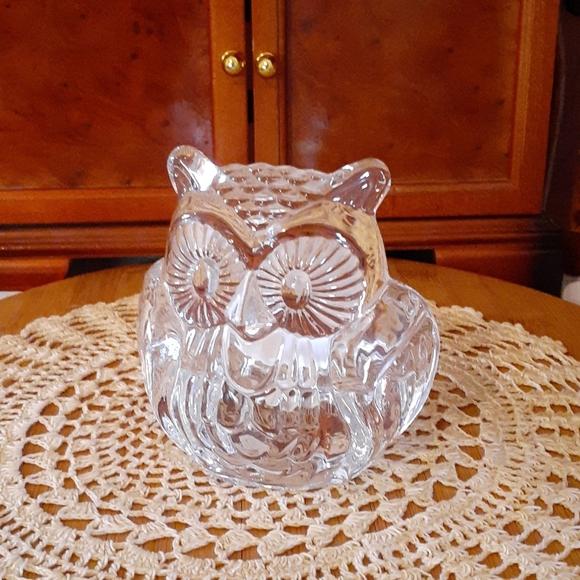 *VINTAGE PARTYLITE* GLASS OWL CANDLE HOLDER